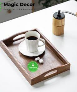 Khay trà gỗ óc chó nhập khẩu nguyên khối kích thước 25x38cm