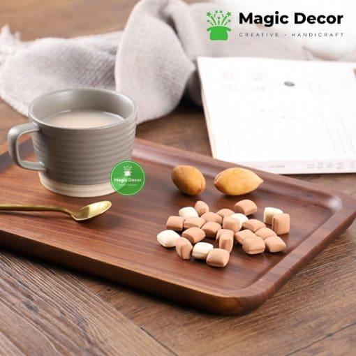 Khay gỗ óc chó hình chữ nhật - đựng đồ ăn, bánh ngọt, trang trí (kích thước 16x26cm-20x30cm)