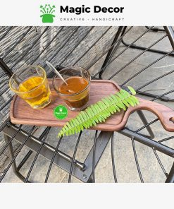 Khay decor gỗ óc chó cao cấp  kích thước 14x40cm - có tay cầm cong