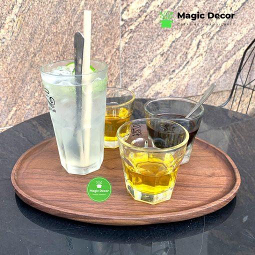 Khay trà decor, đựng ấm chén gỗ óc chó cao cấp kích thước 23x31cm