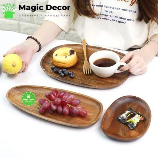 Combo set khay trà 3 món chất liệu gỗ óc chó cao cấp