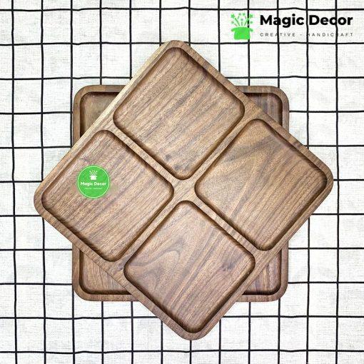 Khay hình vuông gỗ óc chó 4 ngăn kích thước 25x25cm