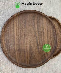 Đĩa tròn gỗ óc chó cao cấp kích thước D22cm