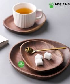 Đĩa lệch gỗ óc chó trưng bày đồ ăn, bánh ngọt kích thước 16x18 cm