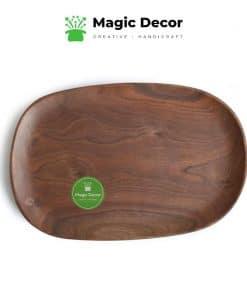 Khay decor gỗ óc chó chữ nhật bo tròn 4 góc kích thước 18x28cm